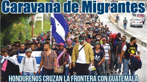 Caravana de Migrantes Hondureños cruza la frontera con Guatemala