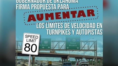 Gobernador de Oklahoma firma Propuesta para  aumentar los límites de Velocidad en  Turnpikes y Autopistas